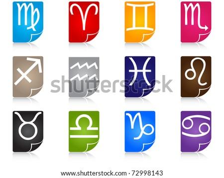 zodiac icons - stock photo