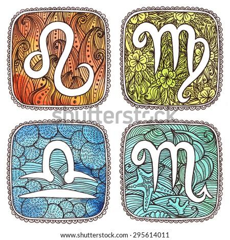 Zodiac icons. Set. Watercolor. Leo, Virgo, Libra, Scorpio. Horoscope collection. - stock photo