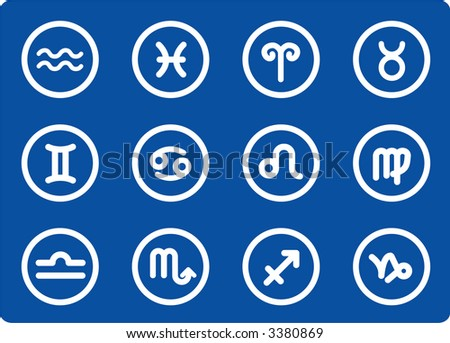 Zodiac raster iconset. Vector version is available in my portfolio - stock photo