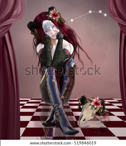 Zodiac series - Aries like a beautiful woman with mask and skull near her - 3D illustration
