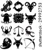 Zodiac Set Black - stock vector