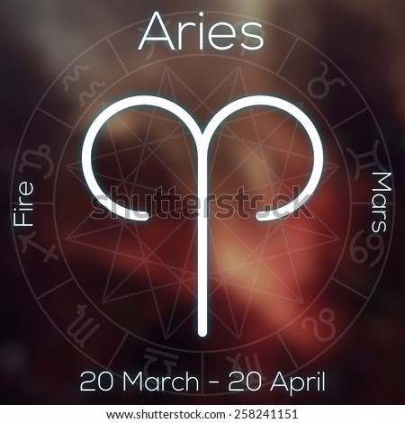 Zodiac Sign Aries White Line Astrological Stock Illustration