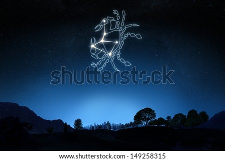 Zodiac Sign Cancer with a star and symbol outline on a gradient sky background. Part of a Zodiac series. - stock photo