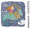 Zodiac sign - Capricorn. Part of a large colorful cartoon calendar. Cute girl in dreams. Cartoon illustration  - stock vector