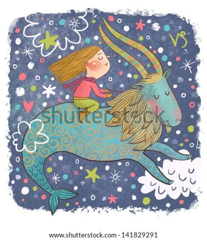 Zodiac sign - Capricorn. Part of a large colorful cartoon calendar. Cute girl in dreams. Cartoon illustration  - stock photo
