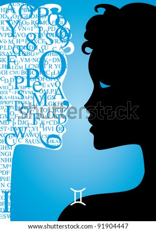 zodiac sign gemini- - stock photo