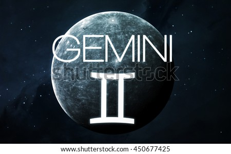 Zodiac sign - Gemini. Elements of this image furnished by NASA - stock photo
