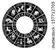 Zodiac sign icons representing the twelve signs of the zodiac for horoscopes arranged round in a circle - stock vector