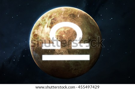 Zodiac sign - Libra. Cool astrologic infographics. Elements of this image furnished by NASA - stock photo