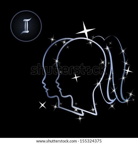 Zodiac sign made of stars on black background  - stock photo