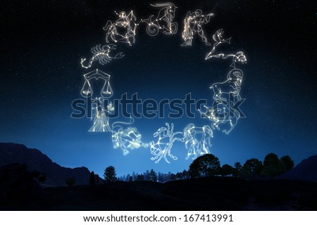 Zodiac Sign's on a gradient sky background .  Part of a Zodiac series. Individual's also available. - stock photo
