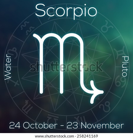 Zodiac sign - Scorpio. White line astrological symbol with caption, dates, planet and element on blurry abstract background with astrology chart. ?an be used for horoscopes. - stock photo