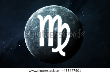 Zodiac sign - Virgo. Cool astrologic infographics. Elements of this image furnished by NASA - stock photo