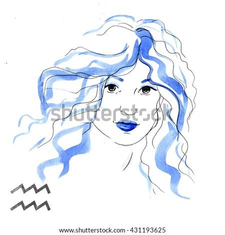 zodiac sign, watercolor illustration of woman,Aquarius - stock photo
