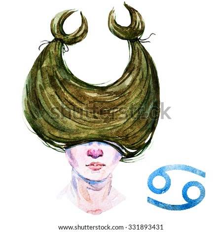 zodiac sign, watercolor illustration of woman,Cancer - stock photo