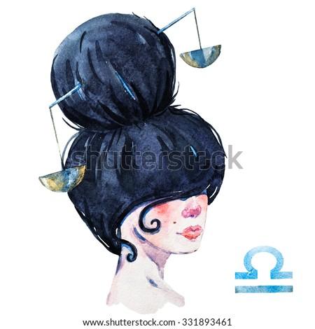 zodiac sign, watercolor illustration of woman,Libra - stock photo