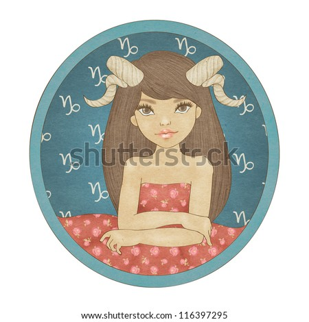 Zodiac signs collection. Capricorn - stock photo