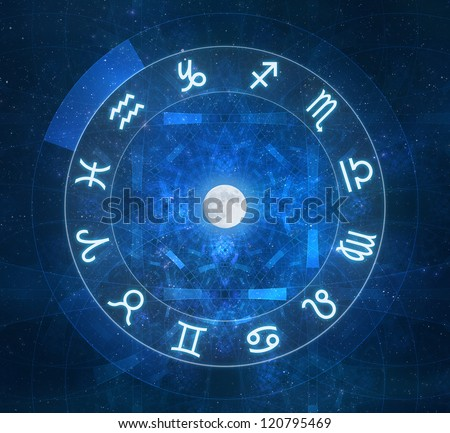 Zodiac Signs - New age horoscope with stars and arcane elements - stock photo