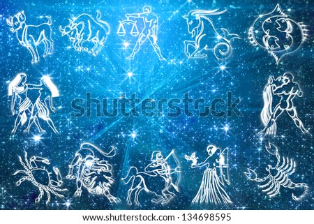 zodiac signs on blue background - stock photo
