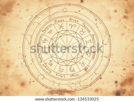 zodiac signs on old paper - stock photo