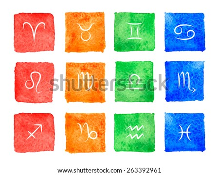 Zodiac signs. Watercolor icons. Raster version