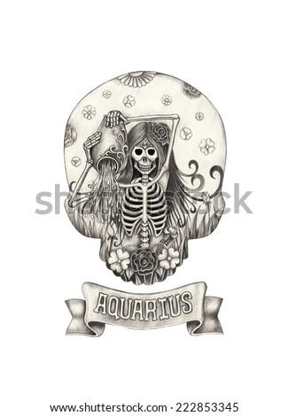 Zodiac Skull Aquarius.Hand drawing on paper. - stock photo