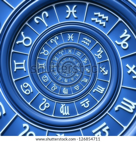 Zodiac spiral - stock photo
