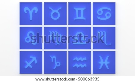 Zodiac Symbol icons on blue background. 3D rendering