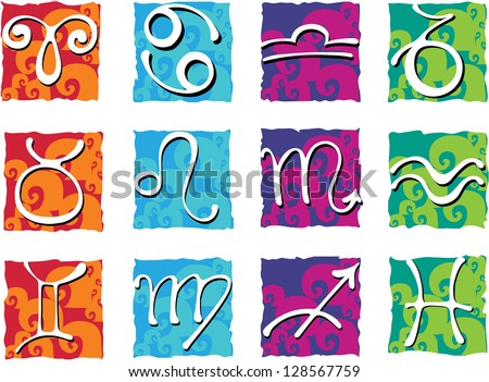 Zodiac with constellations and zodiac signs. Raster version of vector file - stock photo