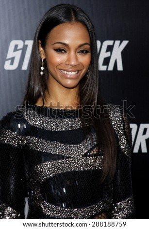 Zoe Saldana at the Los Angeles premiere of 'Star Trek' held at the Grauman's Chinese Theater in Hollywood on April 30, 2009.  - stock photo
