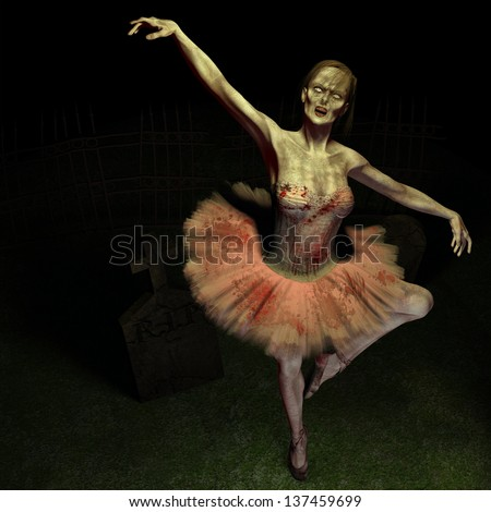 Zombie Ballet - A zombie dances the ballet on a grave.  Wearing a traditional ballet outfit stained with blood and dirt. - stock photo