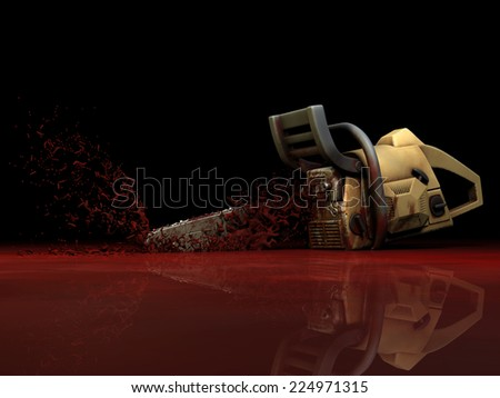 Zombie - Bloody Chainsaw.  A Chainsaw was dropped and is shooting blood into the air. Happy Halloween. - stock photo