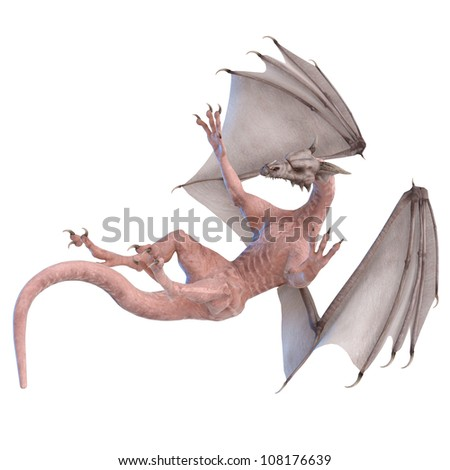zombie dragon falling - stock photo