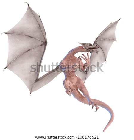 zombie dragon flying out - stock photo