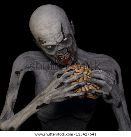 Zombie Eating Brain: An undead Zombie glaring at you while munching on a brain. Isolated on a black background. - stock photo