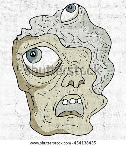 zombie face - stock photo