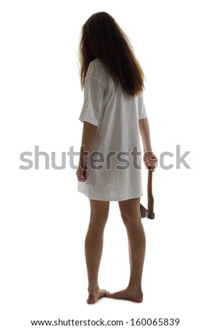 Zombie girl with axe isolated - stock photo