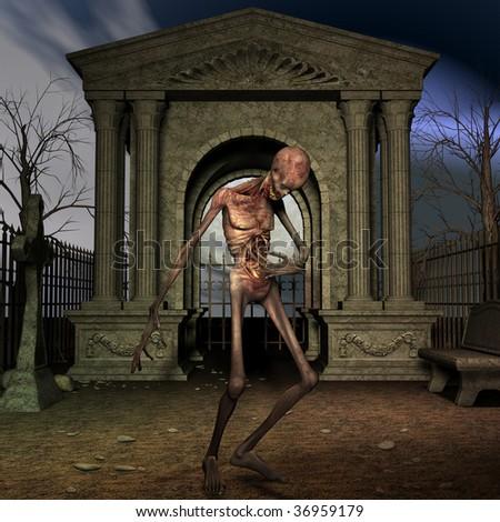 Zombie - Halloween Scene - stock photo