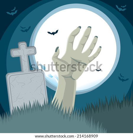 Zombie hand rising from the grave on cemetery ground in front of tombstone with full moon on background - stock photo