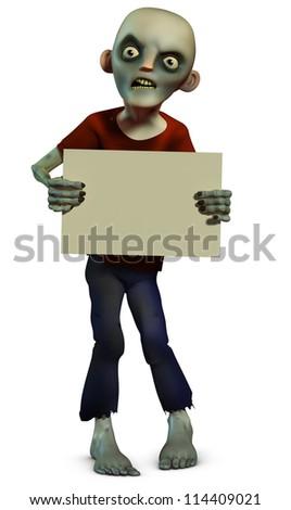 Zombie holding placard - stock photo