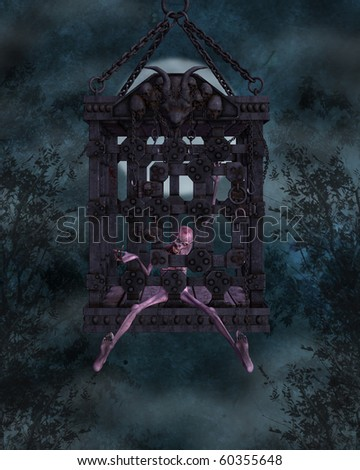 Zombie in a cage - Halloween Figure - stock photo