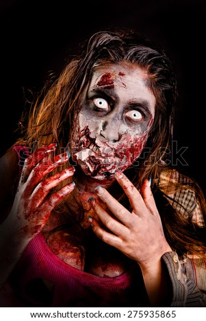zombie isolated in black background