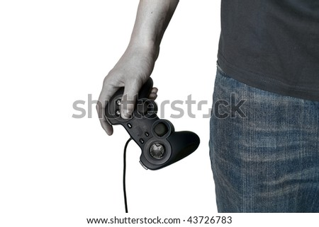 Zombie male hand hold video game controller isolated on white - stock photo