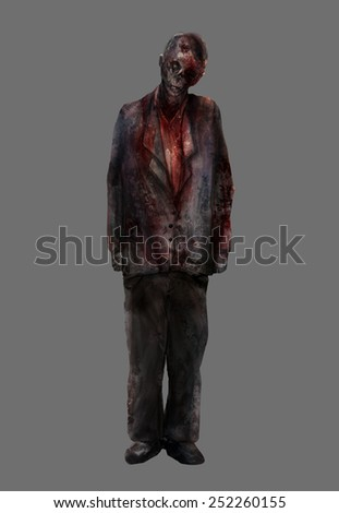 Zombie man.Fantasy dead mutilated zombie male standing in a bloody suit illustration art. - stock photo