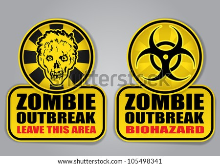 Zombie Outbreak Biohazard warning signals - stock photo