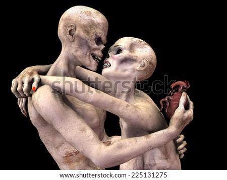 Zombie's in Love - Zombie's embraced looking into each other's eye sockets. Him offering her his heart. Isolated on a black background. - stock photo