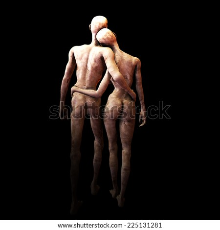 Zombie's in Love: Zombies walking with their arms around each other. - stock photo