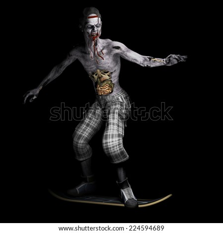 Zombie - Skateboarder.  A zombie with his ribs and entrails showing riding a skateboard. Happy Halloween. - stock photo