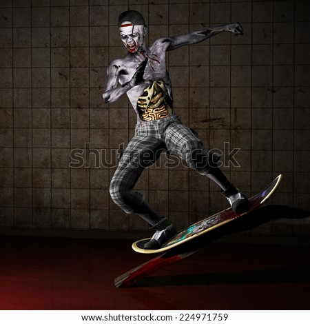 Zombie - Skateboarder.  A zombie with his ribs and entrails showing riding a skateboard up a bloody wooden ramp. Happy Halloween. - stock photo