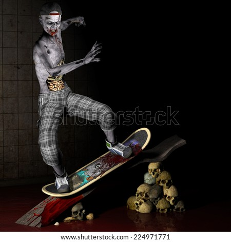 Zombie - Skateboarder.  A zombie with his ribs and entrails showing riding a skateboard up a ramp held up by skulls. Happy Halloween. - stock photo